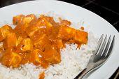 image of paneer  - Paneer over white basmati rice with tikka masala sauce - JPG