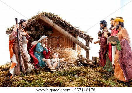 Christmas Nativity Scene With Holy