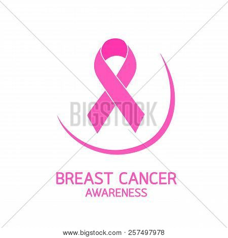 Pink Ribbon Symbol With Curve Of Breast Breast Cancer Awareness