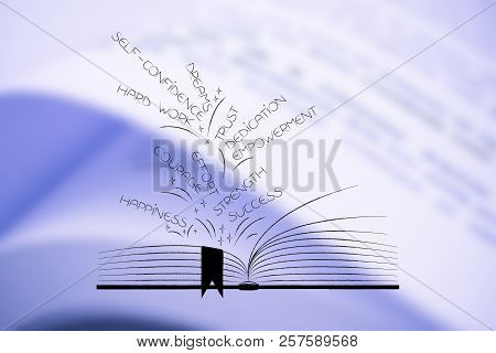 poster of Creating Positivity Conceptual Illustration: Positive Feelings Popping Out Of Open Book