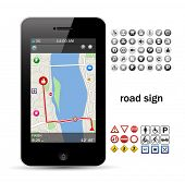 phone navigation with road sign