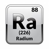 Radium Symbol.chemical Element Of The Periodic Table On A Glossy White Background In A Silver Frame. poster