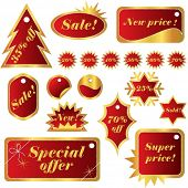 Elegant Red Winter Set of Sales Tags