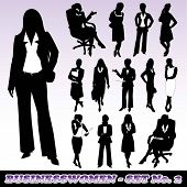 Highly Detailed Silhouettes of Businesswomen