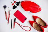 Beauty Cosmetic White Background. Makeup Essentials. Shoes, Red Lipstick, Phone, Brushes Set. Cosmet poster