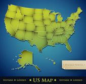 foto of the united states america  - United States map with all 50 states separated  - JPG