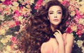 Brunette  Girl With Long  And   Shiny Wavy Hair .  Beautiful  Mode Woman With Curly Hairstyle ,   Ba poster