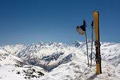 Pair of skis in snow