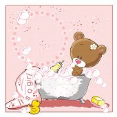 It's a girl - announcement card - Little bear bathing