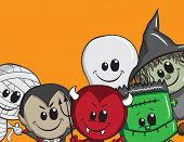 Cute Halloween card - Frankenstein, Ghost, Witch, Dracula, Mummy, Devil