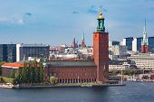 Scenic Summer Aerial View Of Stockholm City Hall, Seen From Sodermalm, In The Old Town In Stockholm, poster