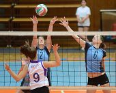 KAPOSVAR, HUNGARY - OCTOBER 16: Zsanett Pinter (2) in action at the Hungarian NB I. League woman vol