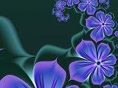 Original Fractal Image With Purple Flowers. Template With Place For Inserting Your Text. Fractal Art poster