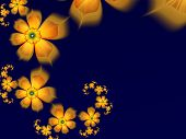 Fantasy Fractal Image With Yellow Flowers. Original Template With Place For Inserting Your Text. Fra poster