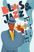Vector Cartoon Illustration Of Blue Jazz Music. Black Man Play Trumpet. Hand Drawn Lettering Above. poster