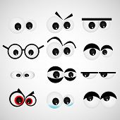 Cartoon eye set Vector illustration