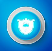 White Waterproof Icon Isolated On Blue Background. Shield And Umbrella. Water Protection Sign. Water poster
