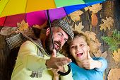 Couple In Love Lay On Wooden Background Top View. Hipster With Beard And Cheerful Girl Expect Rainy  poster