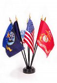 image of united states marine corps  - American Flag with military service flags surrounding - JPG