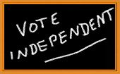 vote independent written on chalkboard