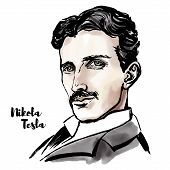 Nikola Tesla Watercolor Vector Portrait With Ink Contours. Serbian-american Inventor, Electrical Eng poster