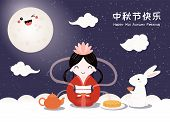 Mid Autumn Card, Poster, Banner Design With Moon Goddess, Cute Bunnies, Typography, Chinese Text Hap poster