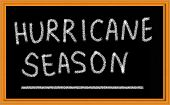 stock photo of disaster preparedness  - Hurricane Season on Chalkboard - JPG