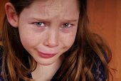 picture of snot  - Young girl crying and upset - JPG