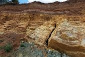 Deep Cracks In The Earth In The Landslide Zone Of The Sea Coast After The Last Hurricane And Earthqu poster