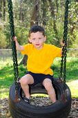 stock photo of tire swing  - young boy on tire swing at park - JPG