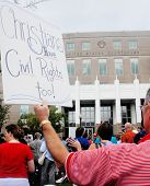 PENSACOLA, FL - SEPTEMBER 17: Protesters in Pensacola support highschool educators on September 17,