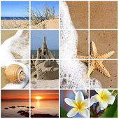 foto of summer beach  - Collage of summer beach images - JPG