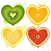 stock photo of gash  - Vector citrus hearts - JPG