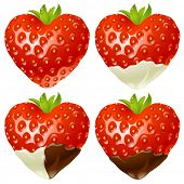 Strawberry in the shape of heart set