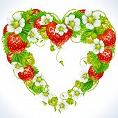 Vector strawberry frame in the shape of heart