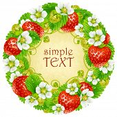 Vector strawberry circle frame. Red berry and white flower