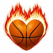 Vector basketball on fire in the shape of heart