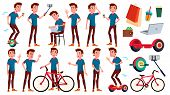 Teen Boy Poses Set Vector. Emotional, Pose. For Advertising, Placard, Print Design. Isolated Cartoon poster
