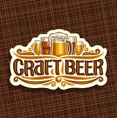 Vector Logo For Craft Beer, White Signage With Pint Glasses Of Draft Czech Pilsner And Mug Of Craft  poster