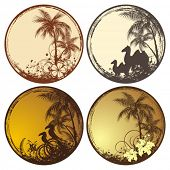 Set of round cards with palm trees summer