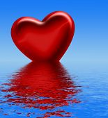 Red Heart Sinking Into Water