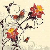 Decorative vector card with a flowers and butterflies