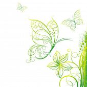 Decorative vector background with butterflies and a flower