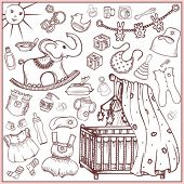 Big set of accessories and toys for the newborn baby (doodle)