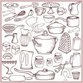 Big kitchen doodle set of ware and accessories