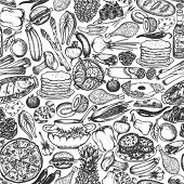 Seamless food doodle pattern