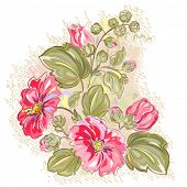 Retro background with a pink mallow