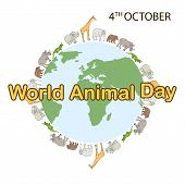 World Animal Day, 4 October. Banner World Animal Day With With Wild Animals And Planet Earth. Animal poster