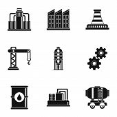 Oil Production Icons Set. Simple Illustration Of 9 Oil Production Icons For Web poster