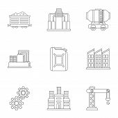 Oil Production Icons Set. Outline Illustration Of 9 Oil Production Icons For Web poster
